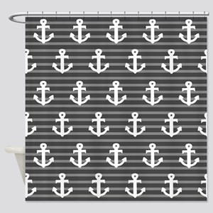 'Gray Anchors' Shower Curtain