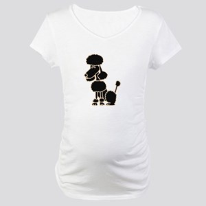 Funky Black Poodle Sitting Maternity T-Shirt