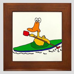 Funny Duck Kayaking Framed Tile