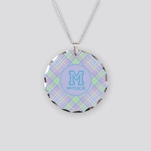 Monogram Soft Plaid Necklace Circle Charm
