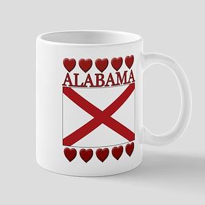 Alabama Flag Hearts Mug