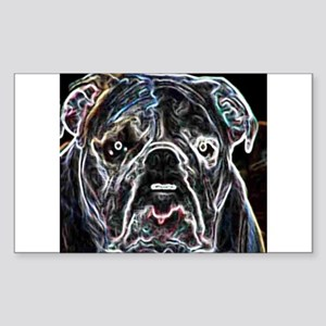 Neon Bulldog Rectangle Sticker