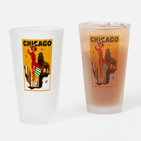 Vintage Chicago Illinois Travel Drinking Glass