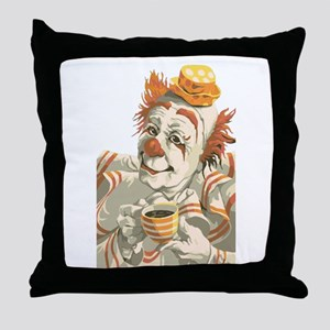 Coffee and Clown Throw Pillow
