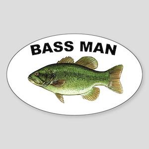 Bass Man ( Ass Man ) Fishing Oval Sticker