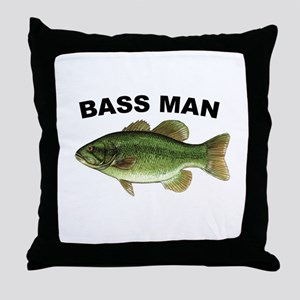Bass Man ( Ass Man ) Fishing Throw Pillow