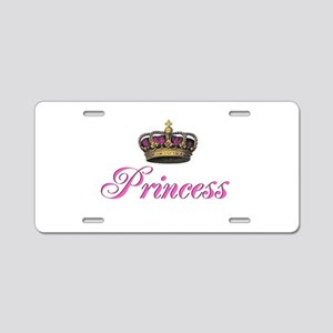 Pink Princess with crown Aluminum License Plate