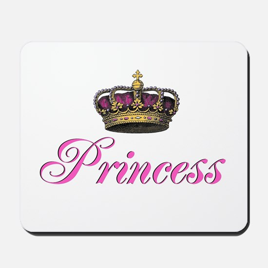 Pink Princess with crown Mousepad