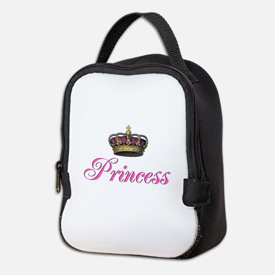 Pink Princess with crown Neoprene Lunch Bag