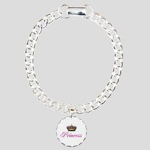 Pink Princess with crown Charm Bracelet, One Charm