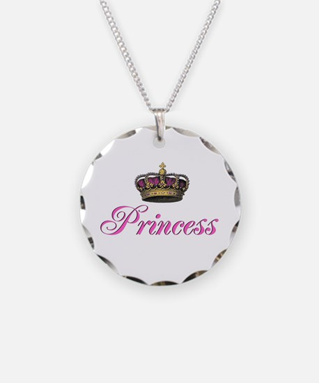 Pink Princess with crown Necklace