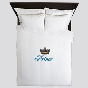 Blue Prince text with crown Queen Duvet