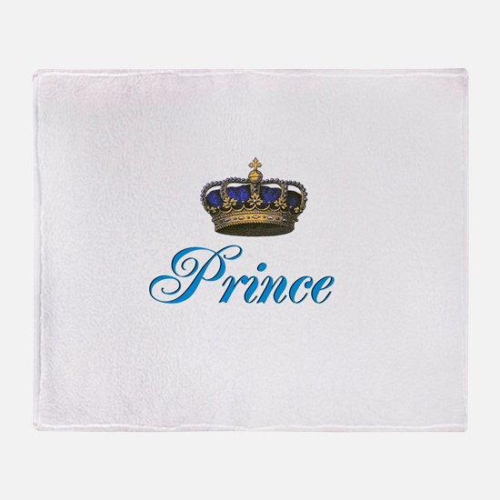 Blue Prince text with crown Throw Blanket
