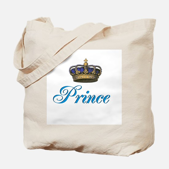 Blue Prince text with crown Tote Bag