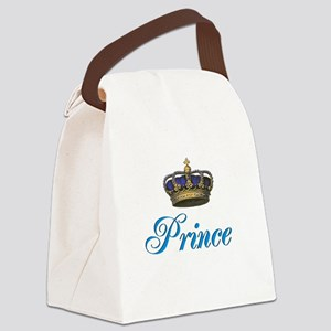 Blue Prince text with crown Canvas Lunch Bag
