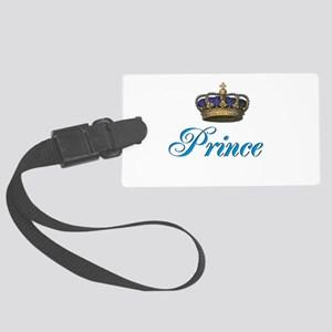 Blue Prince text with crown Large Luggage Tag