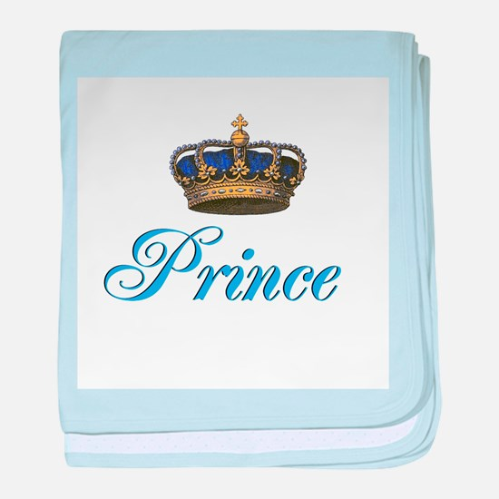 Blue Prince text with crown baby blanket