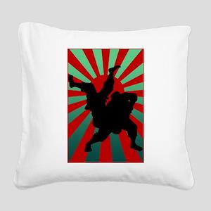 judo sun rising Square Canvas Pillow