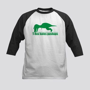 Funny Green T-rex Hates Pushups Baseball Jersey