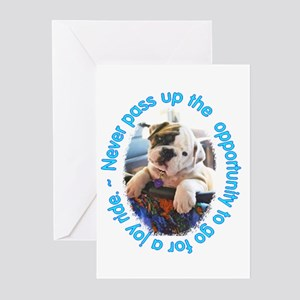Bulldog Puppy Joy Ride Greeting Cards (Package of