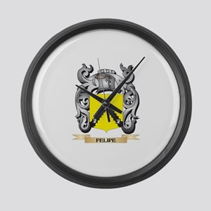 Felipe Coat of Arms - Family Cres Large Wall Clock
