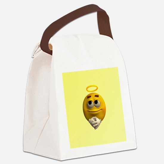 Angelic Emoticon Canvas Lunch Bag