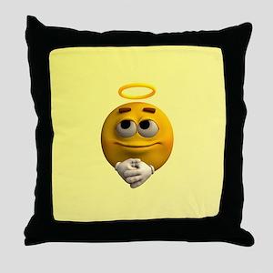 Angelic Emoticon Throw Pillow