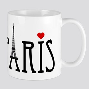 Love Paris with Eiffel tower and red heart Mug