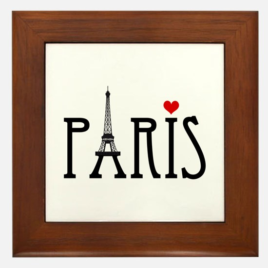 Love Paris with Eiffel tower and red heart Framed