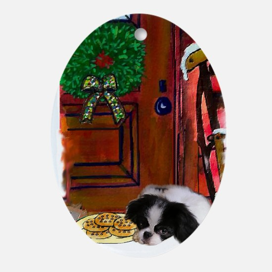Japanese Chin Christmas Oval Ornament