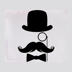 Funny Mustache Face With Monocle Throw Blanket
