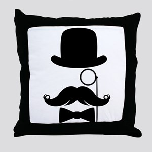 Funny Mustache Face With Monocle Throw Pillow