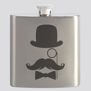 Funny Mustache Face With Monocle Flask
