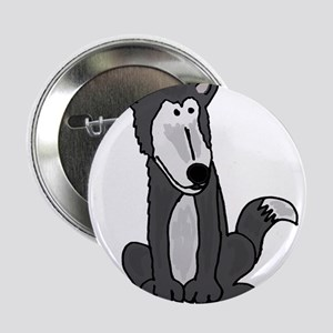 """Funny Grey and White Wolf 2.25"""" Button"""