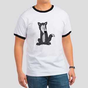 Funny Grey and White Wolf T-Shirt
