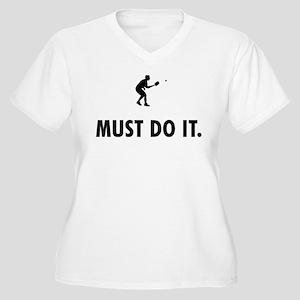 Pickleball Women's Plus Size V-Neck T-Shirt