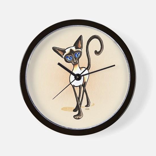 Siamese Cat Crosswalk Wall Clock