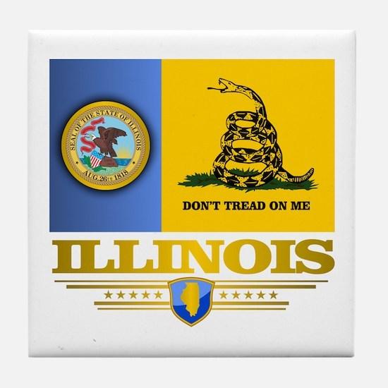 Illinois Gadsden Flag Tile Coaster