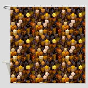 SteamCubism - Brass - Shower Curtain