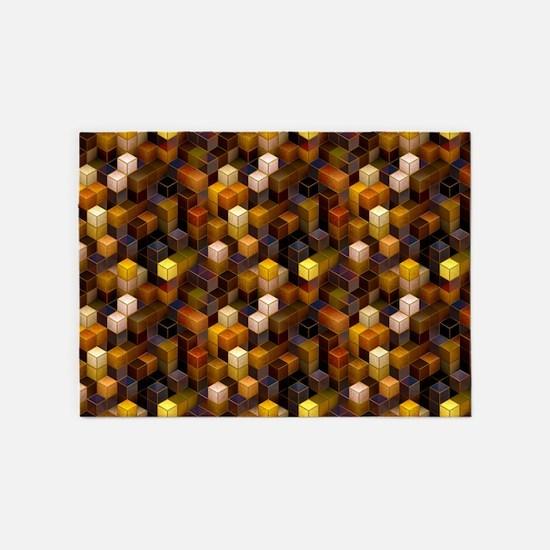 SteamCubism - Brass - 5'x7'Area Rug