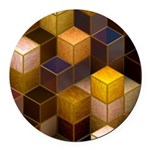 SteamCubism - Brass - Round Car Magnet