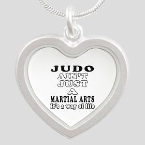 Judo Martial Arts Designs Silver Heart Necklace