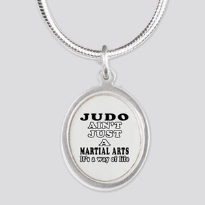 Judo Martial Arts Designs Silver Oval Necklace