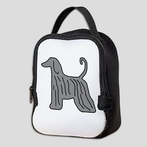 Grey Afghan Hound Neoprene Lunch Bag