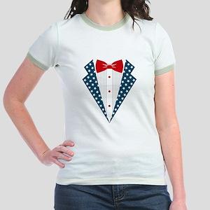 Patriotic Tuxedo Jr. Ringer T-Shirt
