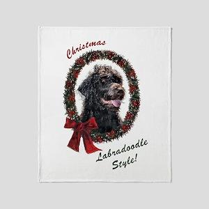 Labradoodle Christmas Throw Blanket