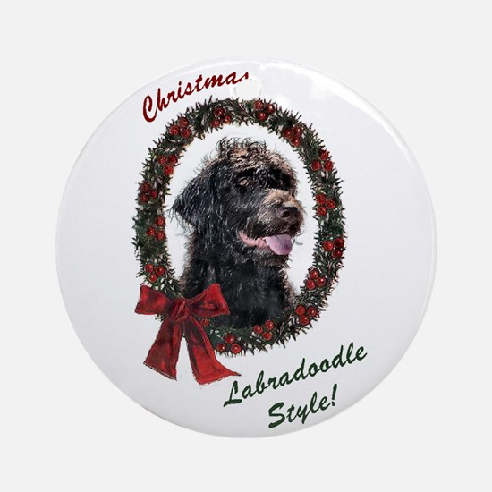 Labradoodle Christmas Ornament (Round)
