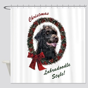 Labradoodle Christmas Shower Curtain