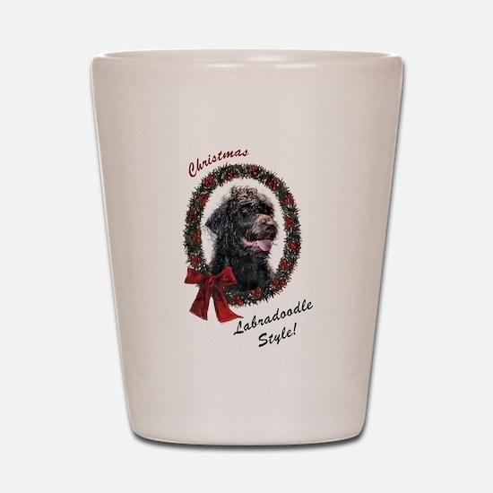 Labradoodle Christmas Shot Glass