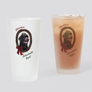 Labradoodle Christmas Drinking Glass